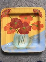 """Vietri Square Platter Wall Hanging Poppy Flower Vase Bowl 17"""" Hand Crafted Italy"""