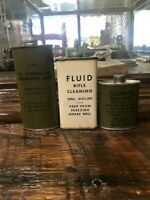 Vintage Lead Top Military Oil Cans--2 Full Unopened Cans--One Empty