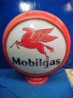 Original 1930s MOBIL Gas Station METAL Gas PUMP GLOBE w 1 PEGASUS GLASS PANEL