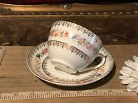 Antique Germany C.T. Carl Tielsch Tea Cup & Saucer Set Floral w/ Gold Accents