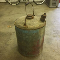 Antique Vintage Metal Wood Handle Gas Can Tin Container Oil Station Distressed
