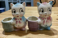Pair Of VINTAGE SMALL SHAWNEE POTTERY PORKY PIG PLANTER VASE Blue Pink White