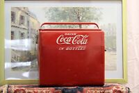 """Vintage 50's Coca Cola """"Drink Coke In Bottles"""" Picnic Soda Pop Cooler With Tray"""