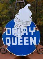 OLD  VINTAGE 1957 DAIRY QUEEN ICE CREAM PORCELAIN SIGN ADVERTISING