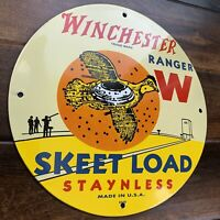 Winchester Ranger W Skeet Load Ammunition Porcelain  Gas Oil  Sign