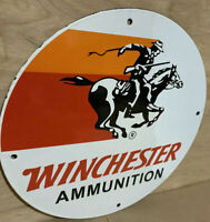 Winchester Western Riffles Ammunition Porcelain  Gas Oil  Sign