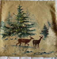 Pottery Barn Deer in Snow Christmas Woodsy Beige Blue Green Pillow Cover 20x20