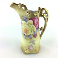 Vintage Nippon Pitcher Hand Painted Red Yellow Roses Collectible Home Decor
