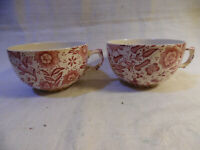 Vintage Pair Of Red Transferware Cups England