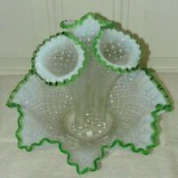 Antique Fenton 3 horn Epergne Opalescent Diamond Lace w/ Green Crest