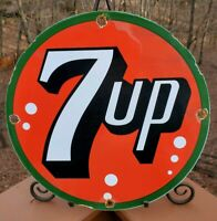 VINTAGE 7 UP PORCELAIN SIGN, SODA POP, GAS STATION, FOUNTAIN, MOUNTAIN DEW