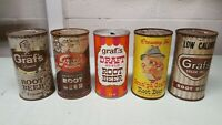 Lot of 5 Vintage Granpa Graf's Root Beer Punch Top Pull Tab Soda Cans 12oz Rare