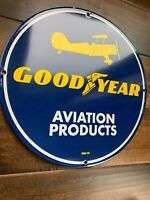 Good Year Aviation Products Gasoline Pump Gas Oil Service  Porcelain   Sign
