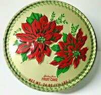 Vintage Shirley Jean Fruit Cake/Cookie Tin Gold w/Red Poinsettias-Beautiful Deco