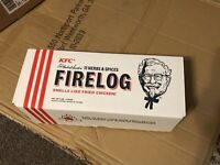 KFC Fire Log 11 Herbs and Spices Envirolog Kentucky Fried Chicken IN HAND