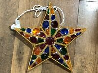 Christmas Tree Star Topper Light Tiffany Multi Colored Gems GE AS IS