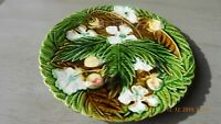 Antique French Strawberries, Flowers & Leaves Majolica Plate by Onnaing c.1880s