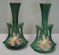 Pair of Roseville Pink Clematis Candle Holders, 187-7