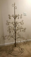 Vintage Gold Metal Scroll Christmas Ornament Display Trees - 67 Inches Tall