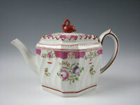 Antique Pearlware Glaze Queens Rose Teapot w/Swan Finial Staffordshire c.1820