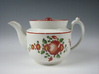 Antique Kings Rose Pearlware Glaze Staffordshire Teapot Nice! circa 1820