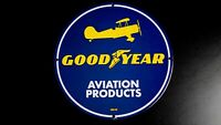 VINTAGE GOODYEAR AVIATION PORCELAIN SIGN GAS OIL SERVICE STATION PUMP PLATE RARE