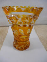 Vintage Czech Bohemian AMBER YELLOW Cut To CLEAR CRYSTAL VASE Flowers Stars 5.25