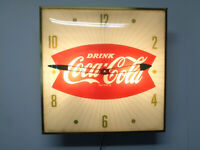 VINTAGE PAM DRINK Coca-Cola LIGHTED WALL CLOCK 15