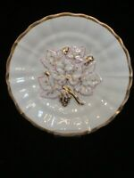 Antique Carl Tielsch Altwasser Germany Cabinet Plate Grape Leaves in Relief