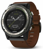 Garmin D2 Charlie Aviation Pilot Watch - Tan, Brown Leather and Orange Silicon