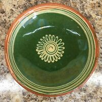 Vtg Soufflenheim Alsace Bowl French Pottery Hand Painted Green Yellow Sunflower