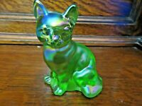 RARE FENTON GREEN IRIDESCENT CARNIVAL SITTING CAT FIGURINE- PINK - GOLD - BLUE