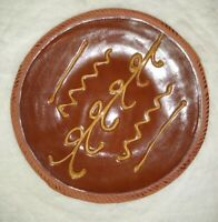 Old Sturbridge Village Redware Pottery Plate Yellow Slip Wheat Design 9.75