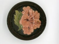 Hibiscus Pattern Moorcroft Pottery Footed Bowl 6 3/4