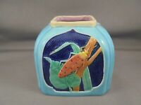 Scarce Antique Royal Worcester Majolica Insect Vase w Beetles Foliage Multicolor
