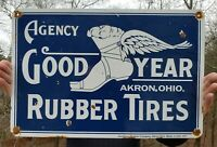 LARGE VINTAGE 1917 GOODYEAR RUBBER TIRES PORCELAIN METAL SIGN! AKRON, OHIO