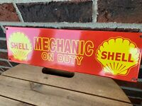 Shell Mechanic On Duty Pump Porcelain Advertising Sign NO RESERVE!!!