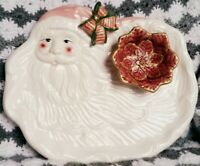 Ceramic Pink Santa Claus Christmas Platter 15quot; by 12quot; World Bazaar Vintage