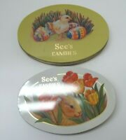 Vintage Lot of (2) See's Sees Candies Oval Tins Bunny Chick Tulips Eggs EASTER