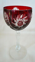 Bohemian Crystal ~ RUBY RED CUT TO CLEAR ~  Pinwheel Star WINE GLASS