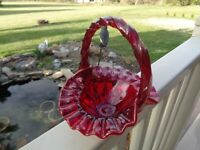 Fenton Ruby 6.75quot; w Twisted Handle Glass Basket