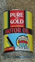 Original Vintage 1930's PEP BOYS One Quart Metal Oil Can Gas Sign FULL~NOS~MINTY