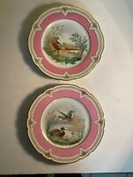 Two Antique French? Porcelain Pink Bird Duck Plates 8""