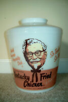 Vintage 1960s Kentucky Fried Chicken Glass Light Cover with Colonel Sanders  KFC