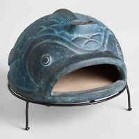 Outdoor Pizza Oven Wood-Fired Home Decor Terracotta Sculptural Fish with Stand