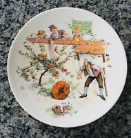 """SARREGUEMINES Faience French Plate~9"""" Across~Apple Orchard~String Hanger"""