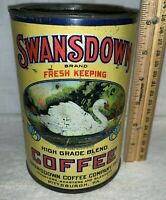 ANTIQUE SWANSDOWN COFFEE TIN LITHO CAN PITTSBURGH PA SWAN BIRD GRAPHIC GROCERY