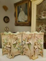 Exquisite Pair of c.1950's Ardalt Japan Hand Painted Porcelain Wall Pocket Vases