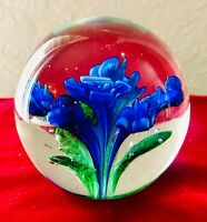 BLUE FLOWER  PAPERWEIGHT BLOWN GLASS Brilliant Colors Heavy 1.8lb, 3.5' High