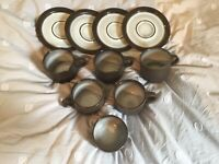 Ceramano Coffee Cups amp; Saucers112 Brown West Germany Pottery Vintage Lot of 10